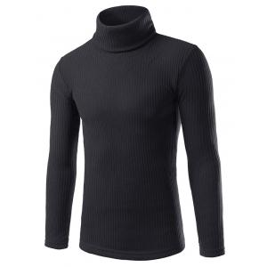Turtle Neck Vertical Rib Long Sleeve Sweater