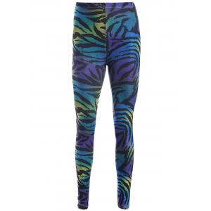 Elastic Waist Leopard Print Slimming Leggings - Purple - One Size