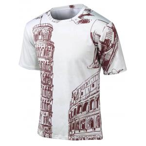 Plus Size Round Neck Sketch Print Short Sleeve T-Shirt