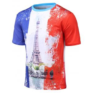 Plus Size Round Neck 3D Watercolor Iron Tower Print Short Sleeve T-Shirt