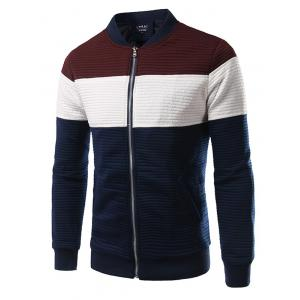 Plus Size Color Block Splicing Design Rib Stand Collar Zip-Up Jacket