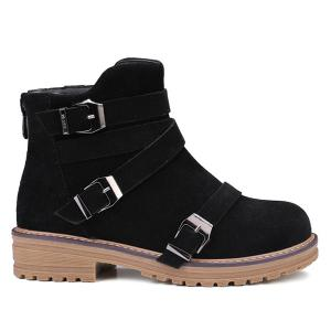 Buckles Cross Straps Zipper Ankle Boots - Black - 39