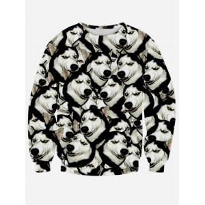Long Sleeve Round Neck 3D Animal Print Sweatshirt