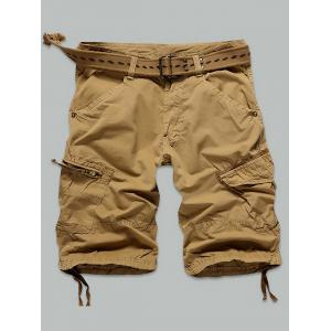 Pocket Rivet Zippered Knee Length Cargo Shorts - Earthy - 34