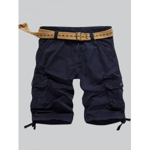 Multi-Pocket Zipper Fly Straight Cargo Shorts - Deep Blue - 34