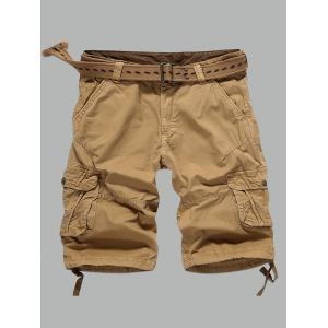 Multi-Pocket Zipper Fly Straight Cargo Shorts
