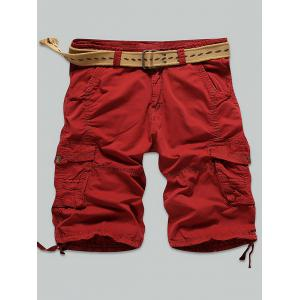 Multi Stitch Snap Button Pockets Zipper Fly Cargo Shorts - Red - 34