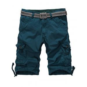 Loose-Fitting Zipper Fly Drawstring Hem Cargo Shorts - Blackish Green - 34