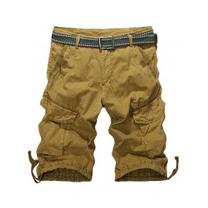 Knee Length Multi-Pocket Zipper Fly Cargo Shorts