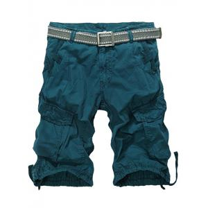 Knee Length Multi-Pocket Zipper Fly Cargo Shorts - Blackish Green - 34