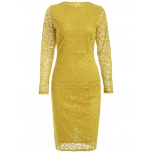 Lace Long Sleeve Bodycon Sheath Tight Dress