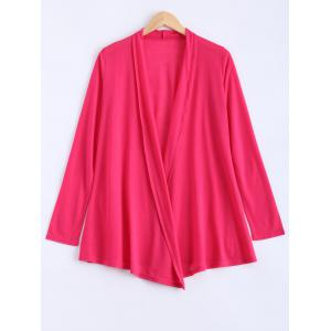 Long Sleeve Open Cardigan - Rose Red - Xl