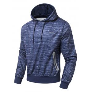 Zipper Pocket Design Marled Hoodie