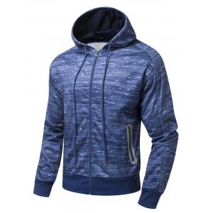Drawstring Hood Zipper-Up Marled Hoodie