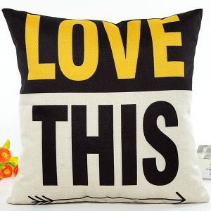 Love This letter Color Block Jointing Design Cushion Pillow Case - White And Black