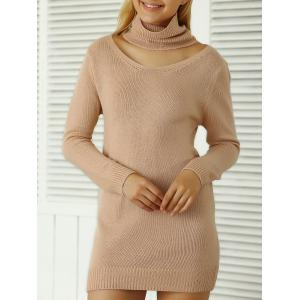 Roll Neck Ribbed Plain Mini Jumper Dress