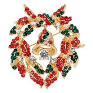 Christmas Bell Wreath Brooch - Golden