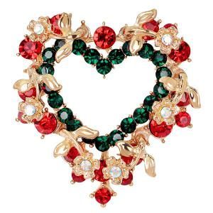 Heart Wreath Brooch - Red