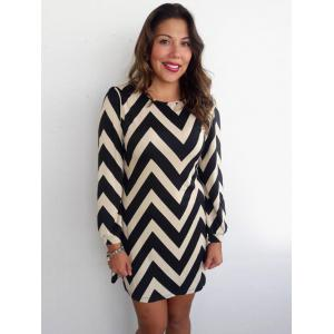 Color Block Zigzag Printed Mini Shift Dress - Black - Xl
