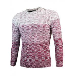 Knit Blends Ombre Round Neck Long Sleeve Sweater