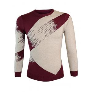 Color Block Splicing Round Neck Long Sleeve Sweater