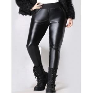 Elastic Waist Thicken Slim Faux Leather Pants - Black - 4xl