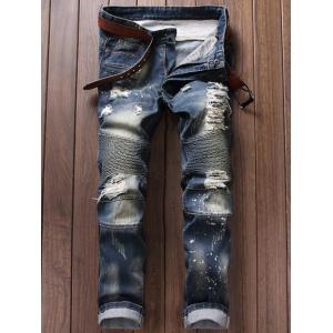 Paint Splatter Ripped Moto Jeans - Blue - 38