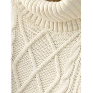 Long Cable Knit Polo Neck Jumper Sweater - WHITE ONE SIZE