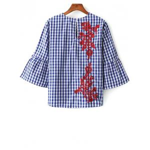 Round Neck Flare Sleeve Checked Embroidered Blouse -