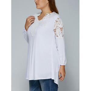 Plus Size Crochet Lace Splicing Blouse -