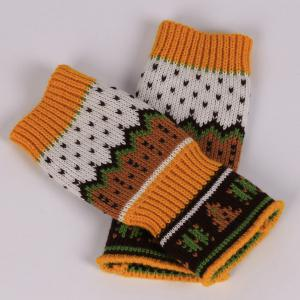 Pair of Christmas Tree Snow Knitted Fingerless Gloves - ORANGE YELLOW