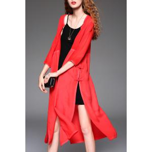 High Slit Collarless Long Blouse