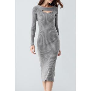 Midi Ribbed Knit Long Sleeve Bodycon Dress - Gray - One Size