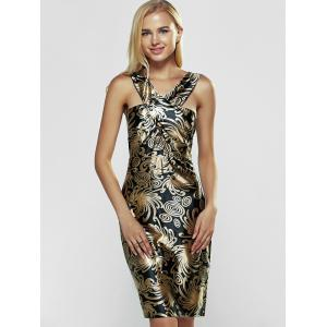 Sleeveless Print Bodycon Club Dress - BLACK AND GOLDEN XL