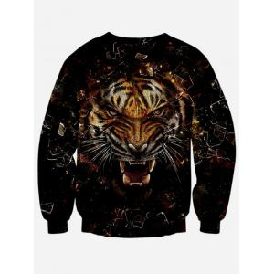 Round Neck Long Sleeve 3D Tiger Print Sweatshirt - BLACK XL