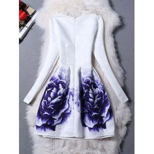 Long Sleeves Jacquard Floral Dress - WHITE XL