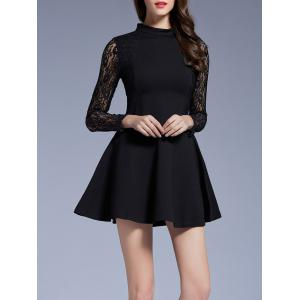 Long Sleeves Lace See-Through Dress -