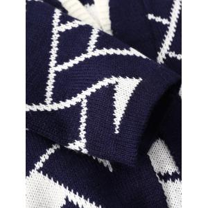 Geometric Print Loose Knitted Cardigan - DEEP BLUE ONE SIZE