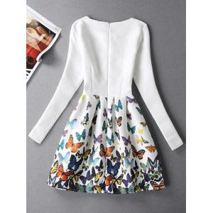 Jacquard Butterfly Skater Dress with Sleeves - WHITE XL