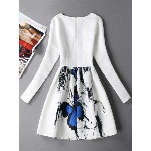Long Sleeves Textured Dress with Butterfly Print - WHITE XL
