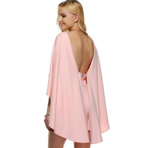 Cape Style Backless Bat Sleeve Skinny Dress -
