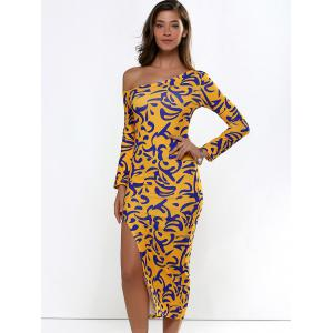 Long Sleeve Printed Slit Midi Bodycon Dress - GINGER ONE SIZE