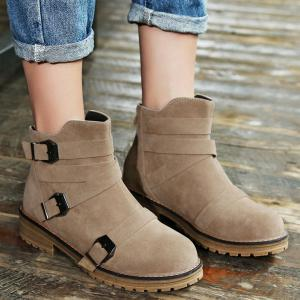 Buckles Cross Straps Zipper Ankle Boots -