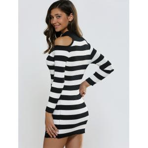 Keyhole Open Shoulder Slit Stripe Sweater Dress - BLACK ONE SIZE