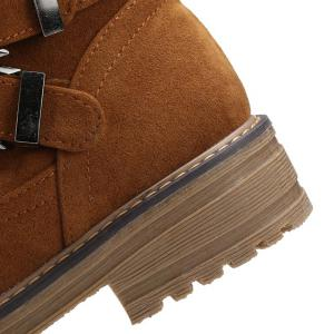 Cross Straps Double Buckle Suede Short Boots - BROWN 38