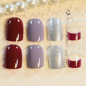 24 PCS Glitter Powder Transparent Nail Art False Nails -