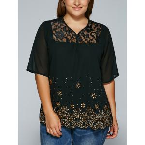 See-Through V Neck Rhinestone Blouse -