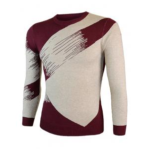 Color Block Splicing Round Neck Long Sleeve Sweater - WINE RED 2XL