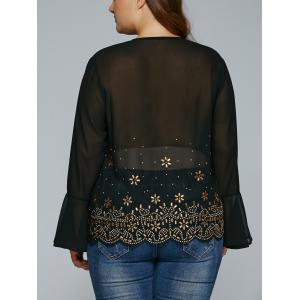 V Neck Rhinestone See-Through Blouse -