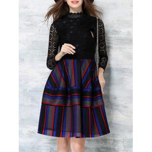 Color Block Stripe Long Sleeve Lace Dress -